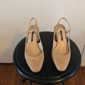 Zara Nude Slingback Heels; Size 7